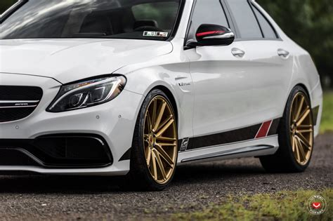 mercedes white white mercedes c63 amg gets vossen forged wheels my