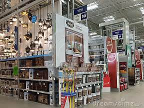 interior of home improvement store editorial stock image