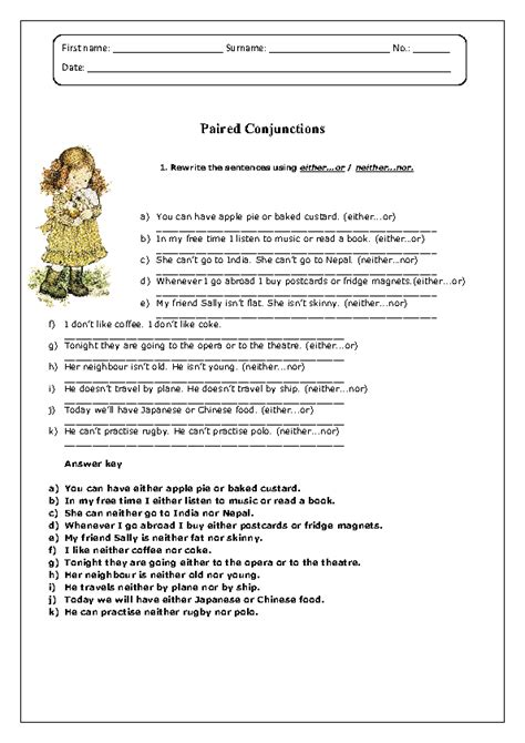 Conjunction Worksheets by 100 Correlative Conjunctions Worksheets With Answers
