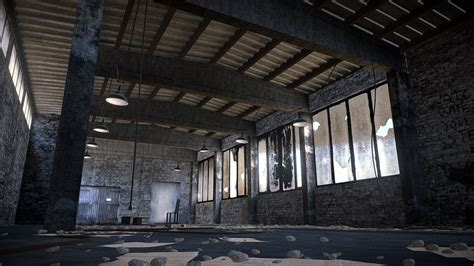 abandoned warehouse interior scene    model  aurelien martel ataurelien