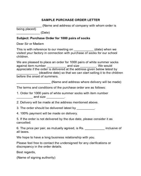 Purchase Order Letter Exles 2018 order letter templates fillable printable pdf