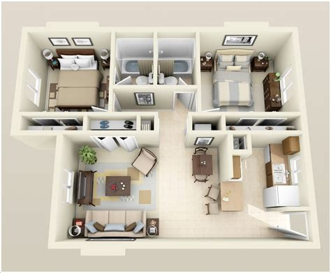 2 Bed Apartments by 10 Awesome Two Bedroom Apartment 3d Floor Plans