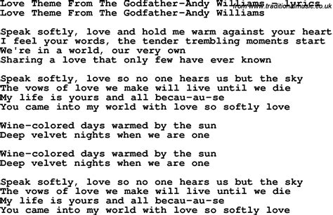 theme songs love love song lyrics for love theme from the godfather andy