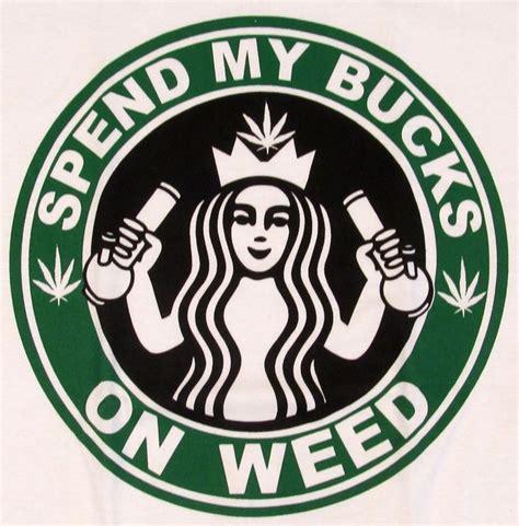 MARIJUANA T SHIRT WEED STONER STARBUCKS COFFEE PARODY LOGO