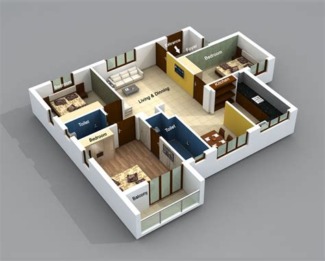 home design 3d 2bhk apt flats