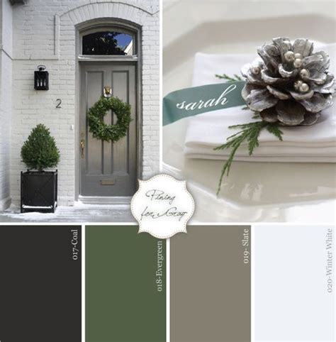 door accent colors for greenish gray charcoal evergreen gray and white winter party palette