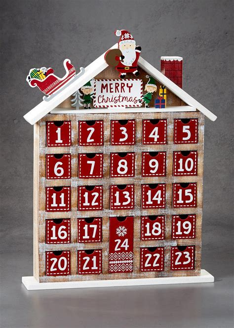 wooden christmas advent calendar 44cm x 33cm red matalan