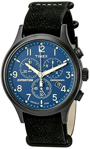 Expedition E6674 Black Leather Green timex timex mens tw4b044009j expedition scout chrono green leather b0194lwiq4