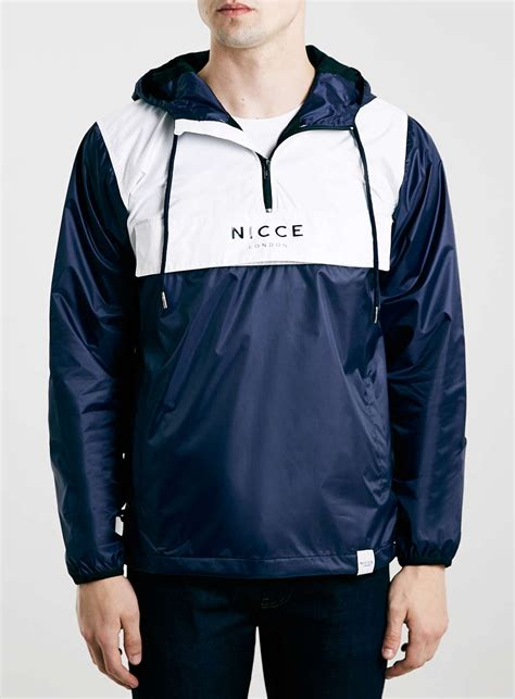 topman nicce navy white cagoule in blue for lyst