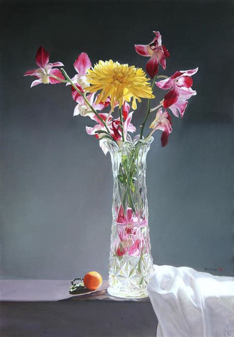 Flower And Vase by Yaowu Zhang S Painting Gallery