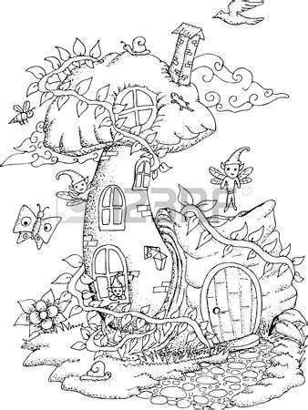 coloring page fairy house fairy houses and fairy adult coloring pages