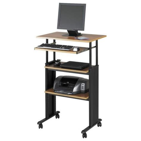 computer desk on wheels with top shelf furniture stylish small adjustable height standing laptop