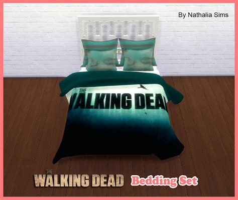 The Walking Dead Bedding Set At Nathalia Sims 187 Sims 4 Updates Walking Dead Bed Set