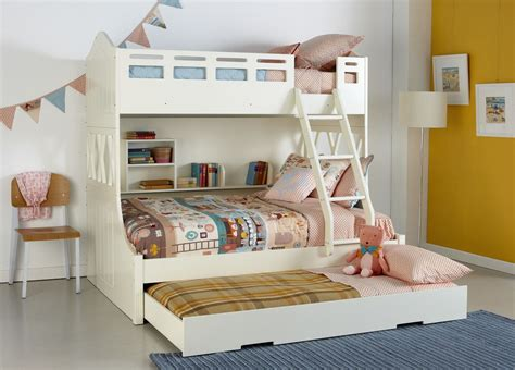 kids double bed kids white snow bunk bed with trundle and built in