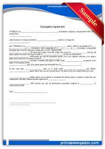 free printable subrogation agreement form generic