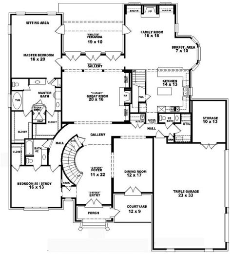653749 two story 4 bedroom 5 5 bath french style house plan house plans floor plans home