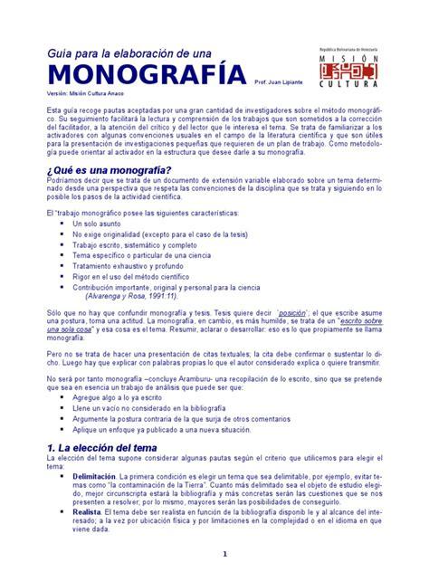 ejemplo de monografia guia para la elaboraci 243 n de una monograf 237 as