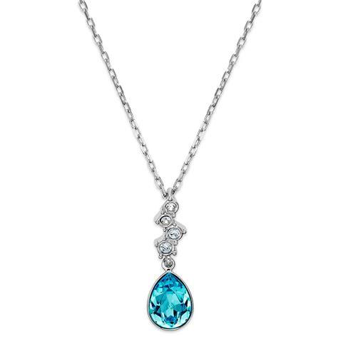 swarovski rhodiumplated aquamarine teardrop