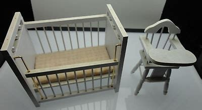 Baby Doll High Chair And Crib Nursery Baby Crib And High Chair Doll House Miniature Furniture For This And More Visit Me At