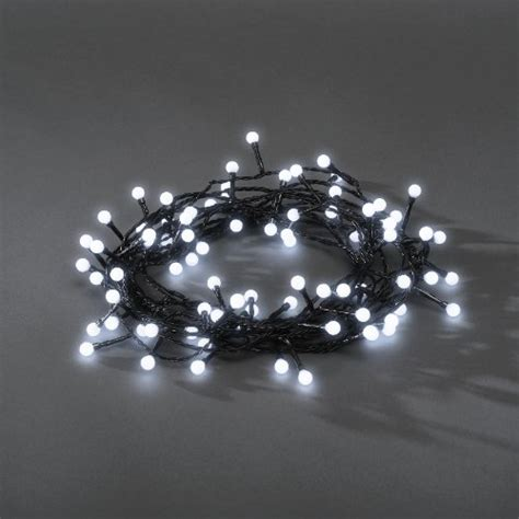 80x led white berry fairy lights black wire christmas