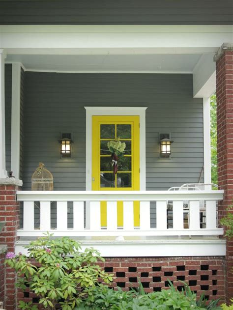 gray house yellow door grey house with yellow red front door design ideas 2018