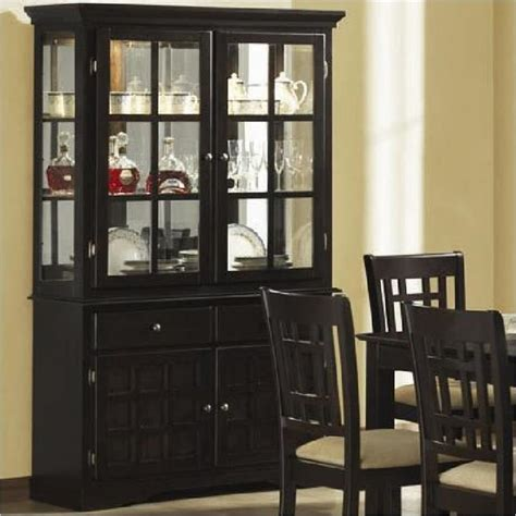 Coaster Baldwin Buffet & Hutch with 2 Glass Doors Deep Cappuccino   Contemporary   China