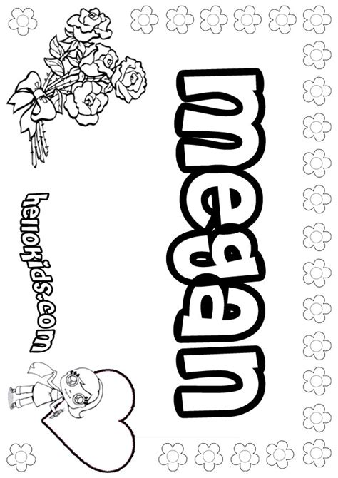 Coloring Pages Of The Name Megan | girls name coloring pages megan girly name to color