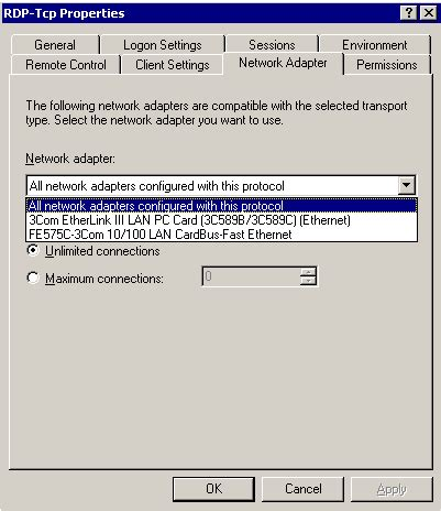 rdp standard port publishing windows 2000 terminal services to a non