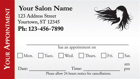 Hairdressing Appointment Cards Template by Hair Salon Appointment Cards Appointmentcardcentral