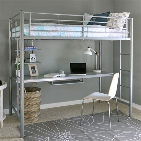 white metal loft bed with desk metal loft bed with desk underneath whitevan