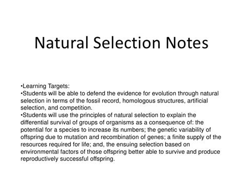 what is natural section natural selection notes