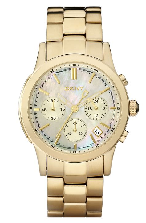 dkny chronograph bracelet in gold lyst