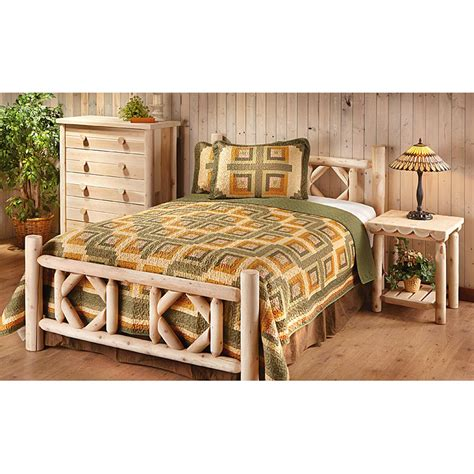cedar bedroom sets king castlecreek diamond cedar log bed 297899 bedroom sets at sportsman s guide