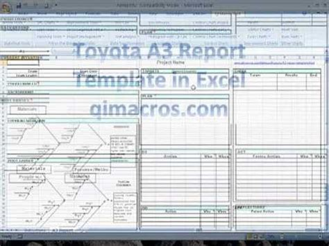 Toyota A3 Report Template In Excel Pdca Pinterest Toyota And Lean Manufacturing Lean Manufacturing Excel Templates