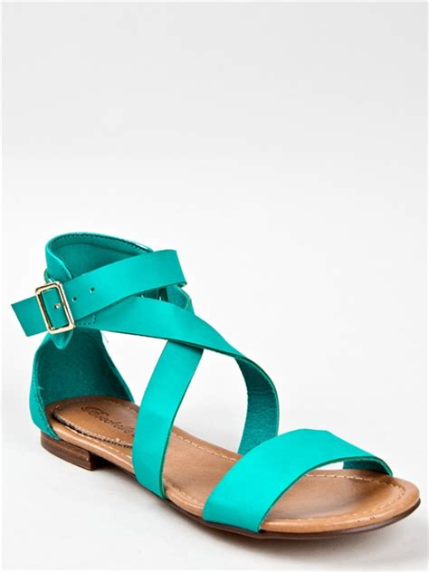 turquoise flat sandals new breckelle s strappy gladiator flat sandal blue