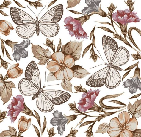 pattern for butterfly jasmine paper flower 蝴蝶花卉图案矢量图4 矢量花卉花纹 矢量素材 素彩网