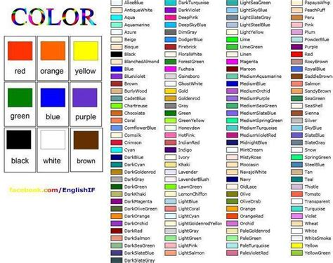 color vocabulary most detailed color list vocabulary study
