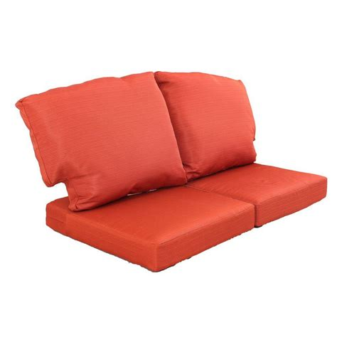 outdoor loveseat cushions martha stewart living charlottetown quarry red replacement