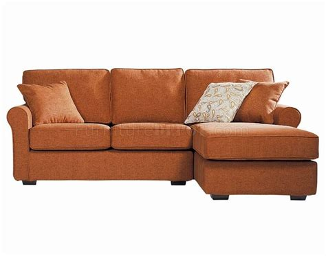 Orange Sectional Sofa Contemporary Small Sectional Sofa In Orange Fabric