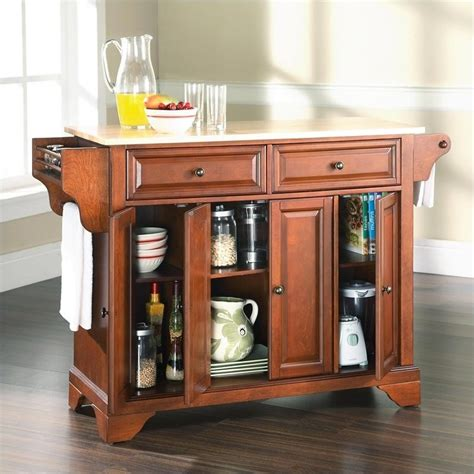 Kitchen Island Cherry Wood Crosley Lafayette Wood Top Kitchen Island In Classic Cherry Finish Ebay