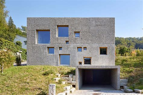 poured concrete home concrete house in switzerland looks like a block of swiss