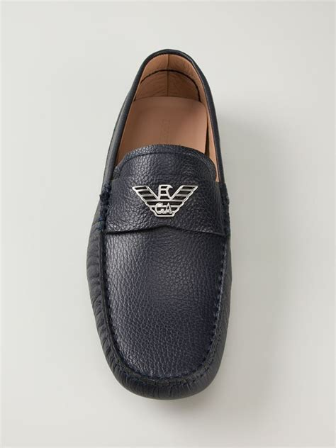 armani exchange loafers lyst emporio armani logo classic loafers in black for
