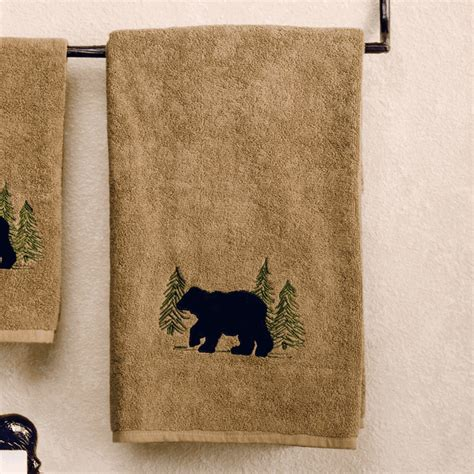 bear bathroom black bear forest bath towel