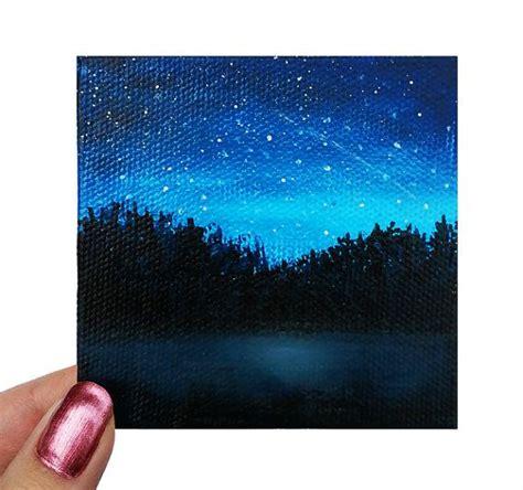 acrylic paint on black canvas acrylic painting mini canvas lake silhouette original