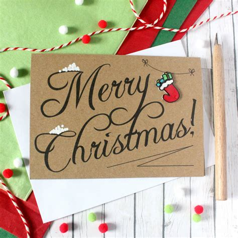 christmas stocking merry christmas card   silverleaf notonthehighstreetcom