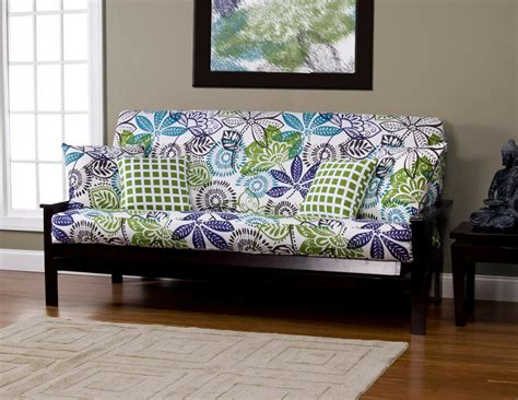 Futon Cover by Bali Floral White Blue Green Sis Futon Cover Choose Size