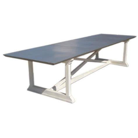 custom quot x quot base dining table with zinc top at 1stdibs