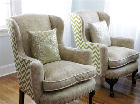 Reupholster Arm Chair Design Ideas Before After Reupholstered Wingback Chairs Design Sponge