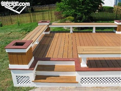 deck with built in bench building built in deck benches decks com