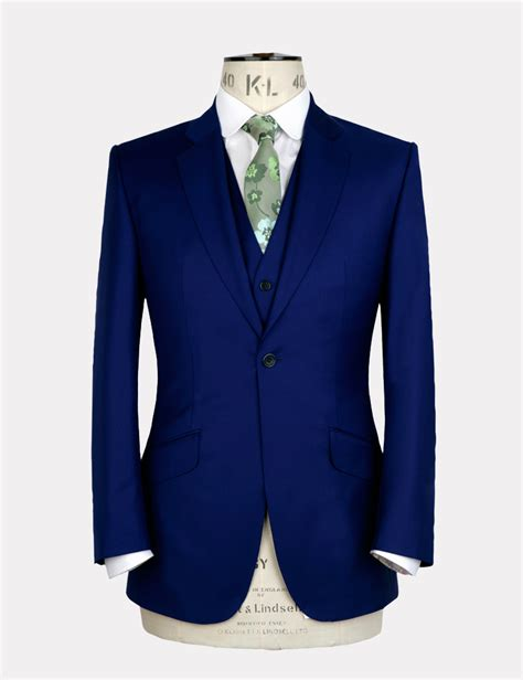 Jaket Biru Elektrik marc wallace 187 electric blue wool 3 suit